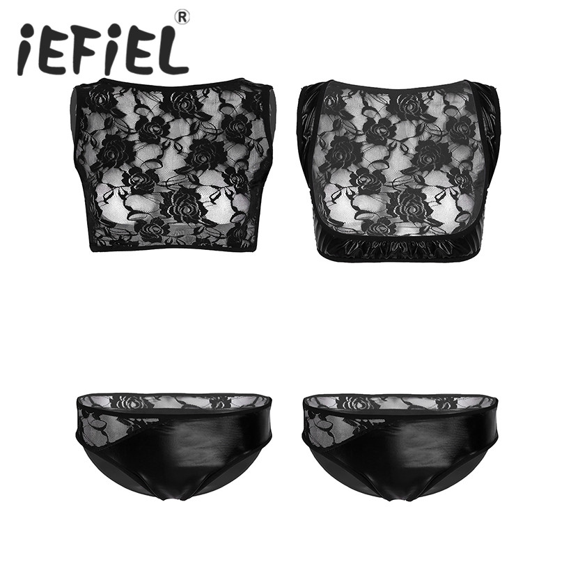 Newest Female Women Wetlook Patent Leather Lingerie Set See Through Floral Lace Splice Crop Top with Briefs Underwear Panties