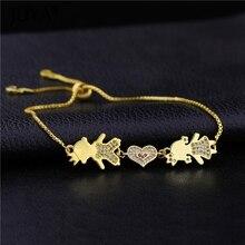 2019 Womens Fashion Lovely Kids Son Heart Daughter Charms Chain Bracelets Bangles For Women Cute Kawaii Jewelry Mom Bracelet