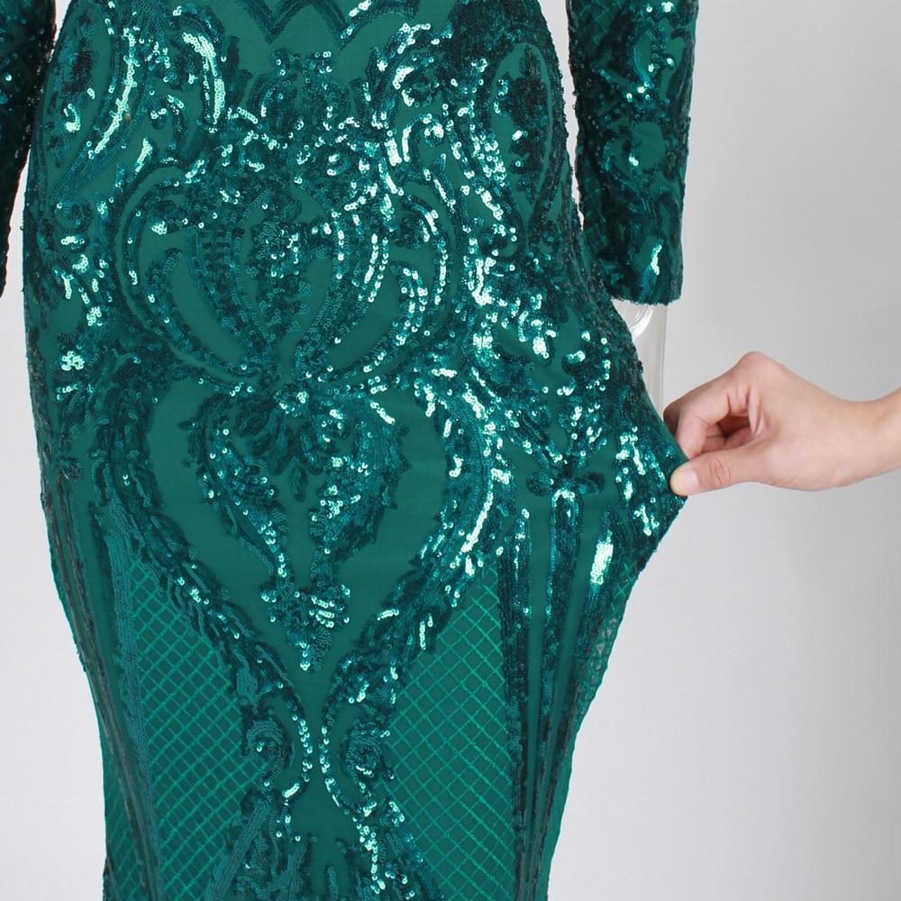 Vert Paillettes robe maxi es Outre De L'épaule Slash Cou robe de fête robe maxi élégante Hiver robe de soirée Paillettes Robe - 5