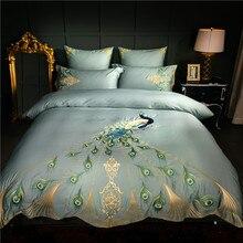 60 s エジプト綿オリエンタル刺繍高級寝具セット孔雀パターン女王キングサイズ 4/6 ピース布団カバーシーツ枕