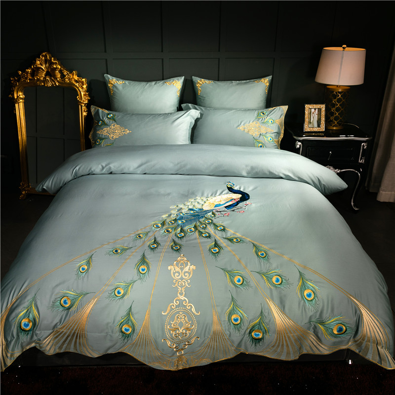 60S Egyptian cotton oriental embroidery luxury Bedding set peacock pattern queen king size 4/6pcs duvet cover bedsheet pillow(China)