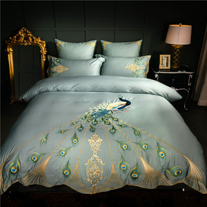 Image 1 - 60S Egyptian cotton oriental embroidery luxury Bedding set peacock pattern queen king size 4/6pcs duvet cover bedsheet pillow