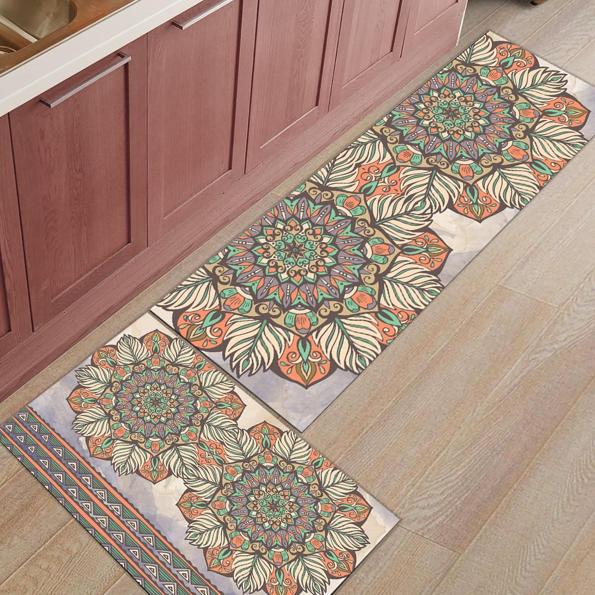 Rétro ethnique fleur Floral géométrique bottes chaussures grattoir lavable en Machine bain douche baignoire accessoire ensembles sol tapis zone Runne