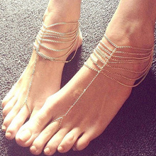 2015 New Fashion Beach Foot Multi Ring Chain Link Foot Jewelry Alloy Punk Foot Chain For Women Gold Silver t457