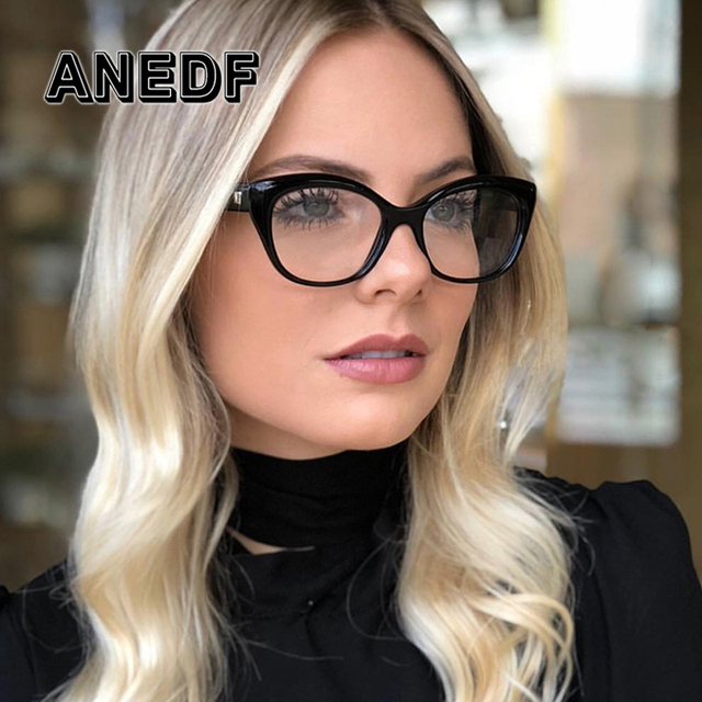 a80ea50e9 ANEDF 2018 جديد القط العين إطارات النظارات الرجال النساء البصرية الأزياء الكمبيوتر  نظارات إطار نظارات شمسية