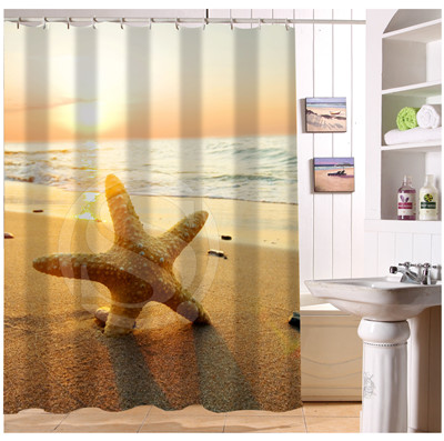 Aliexpress Buy Custom Summer Beach Stone Sea Shells Shower Curtain Moden Home Decor European Style Bathroom Fabric Waterproof Curtains From Reliable