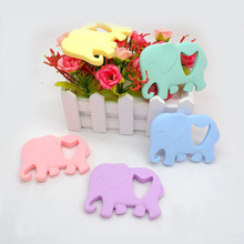 Купить с кэшбэком Chenkai 10PCS BPA Free DIY Baby Shower Silicone Elephant Teether Animal Pacifier Dummy Nursing Soother Sensory toy gift part