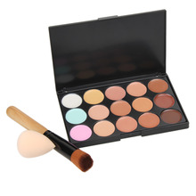 Professional 15 Colors Makeup Cream Concealer Contour Corrector Palette + Water Sponge Puff + Powder Brush Make Up Set