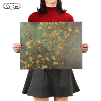 TIE LER Apricot Flowers Open the Masters of Impression Retro Kraft Paper Adornment Poster Starry Night Cafe Wall Sticker 47X36cm image