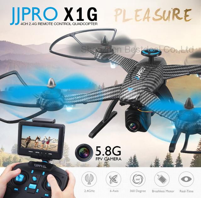 Mais novo JJPRO X1G Brushless WI-FI RC Drone Quadcopter 300-400 M Distância com 5.8G Câmera FPV 2.4G 6 Eixo RTF RC Helicóptero VS X102H