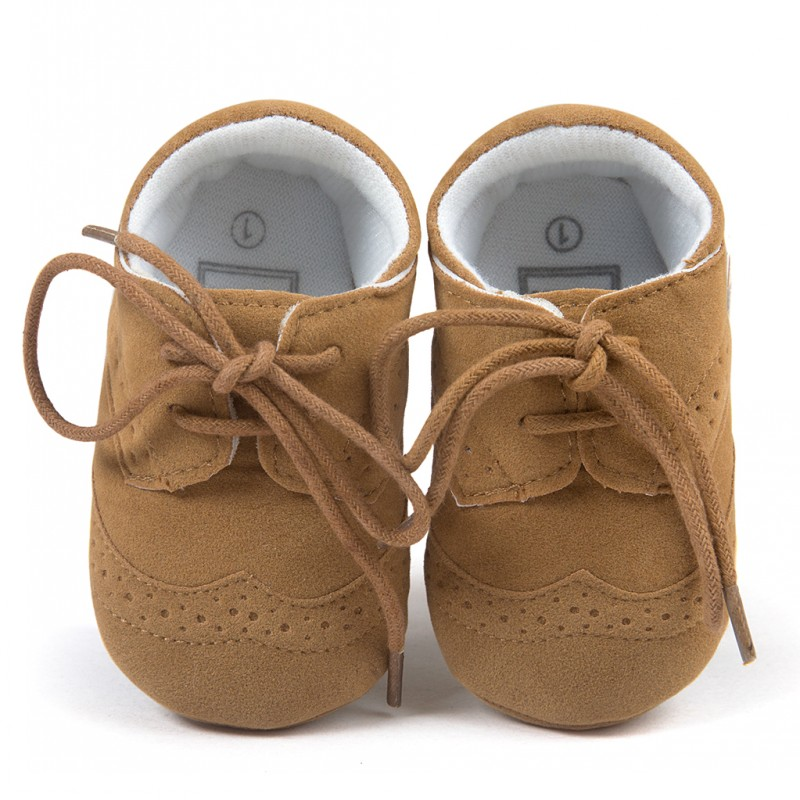 Classic Fashion Little Leather Shoes Baby Boy Toddler Shoes Girl Casual Shoes Newborn Prewalkers Lace-Up 0-18 Month
