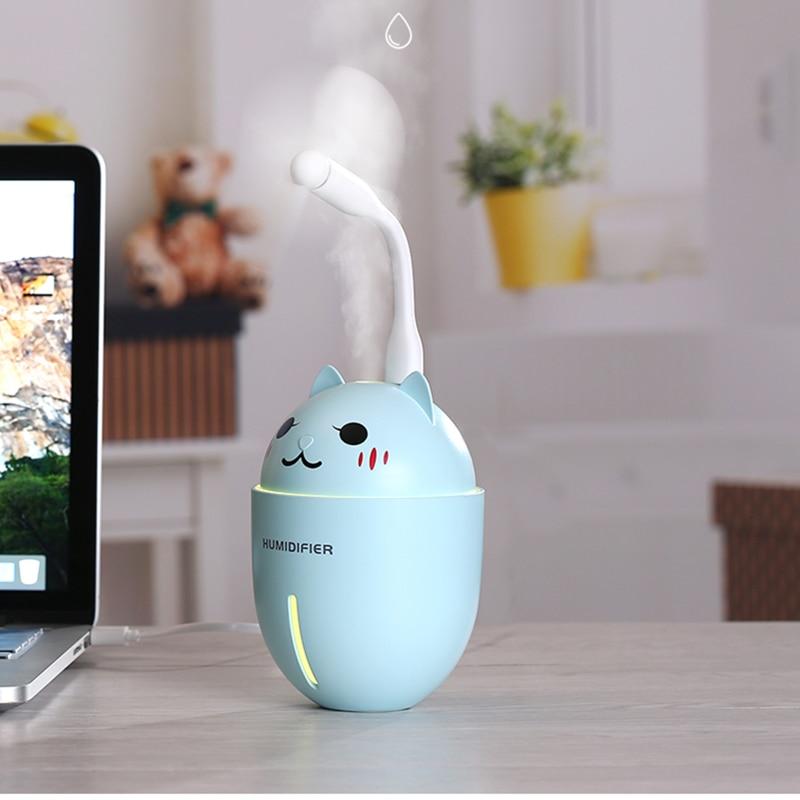Diffuserlove 3 in 1 320ML Air Humidifier Ultrasonic Cool-Mist Adorable Pet USB Mini/Cute Humidifier With LED Light/Mini USB Fan