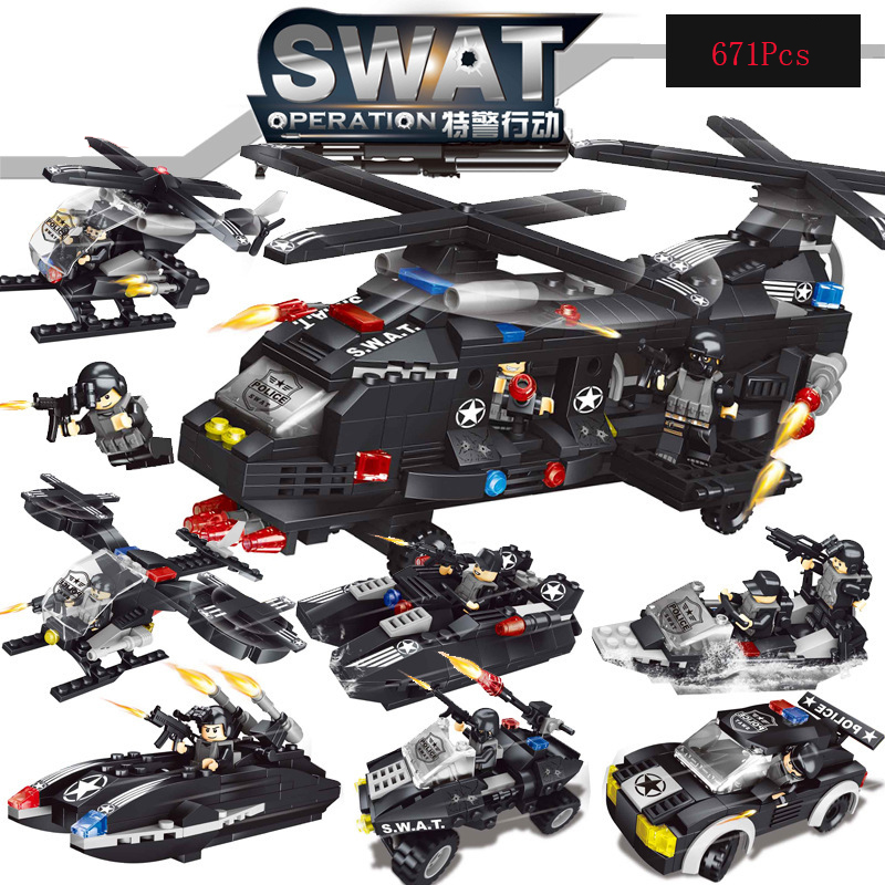 671Pcs Building Blocks Police Station Model Building Blocks Compatible Battlefid Helicopter DIY Brick Educational Toys For