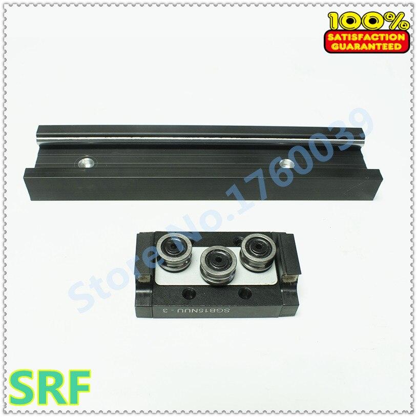 Rail de guidage linéaire de rouleau de largeur de 44mm 1 pièces longueur SGR15N = 1000mm avec 1 pc SGB15N-3UU bloc de trois roues pour CNC