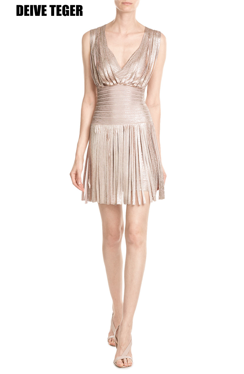 DEIVE TEGER  lacing fringe metallic foil  gold print Fashion Elegant Bandage  dress Vestidos Women Mini Dress HL2969