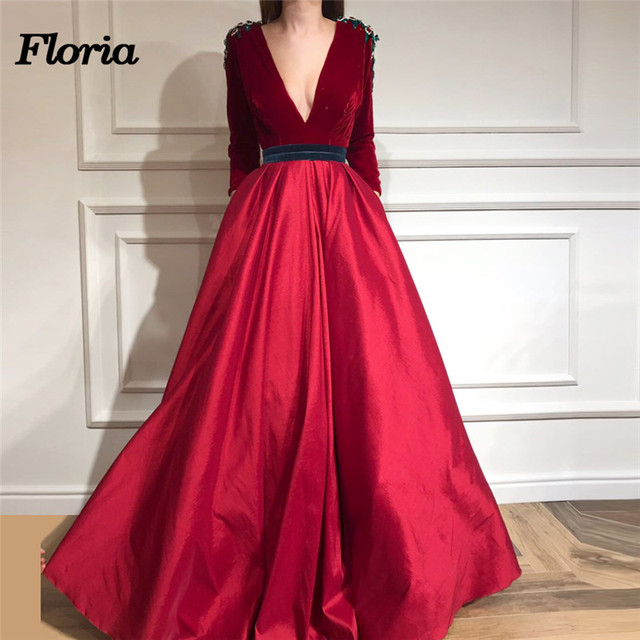 Elegant African Velet Beads Evening Dresses 2018 Robe De Soiree Dubai  Turkey Glitter Formal Prom Dress Moroccan Kaftans Newest 14972b0f2e82