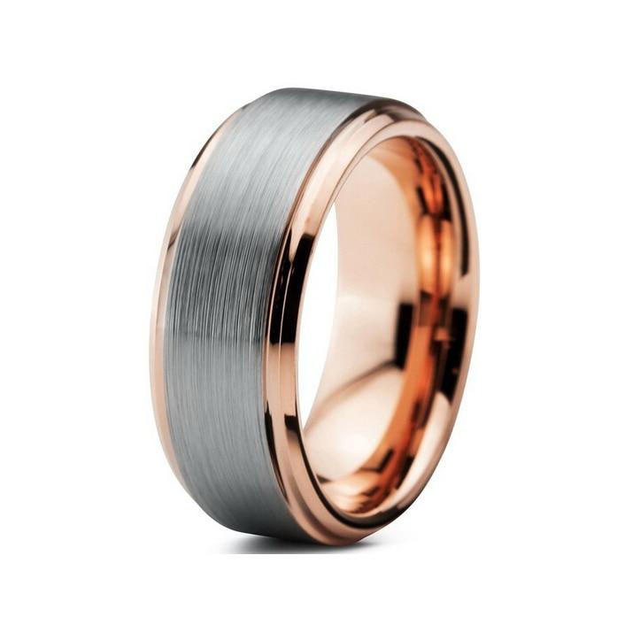 Prix pour 2016 date anneau de tungstène or rose couleur de tungstène anneau de mariage pour hommes et femmes belle bague