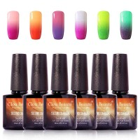 Premium Quality 6Pcs/lot 10ml Clou Beaute Temperature Changing Nail Gel Polish Soak Off Led Nail Paint Chameleon Varnish