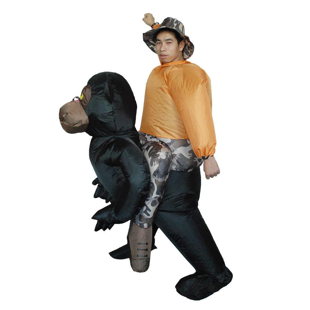 Взрослых надувные шимпанзе костюм взорвать костюмированный фестиваль партии надувные черный орангутанг наряд комбинезон