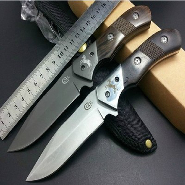 COLT Titanium font b Knife b font 58HRC Blade Camping Hunting Straight font b Knife b