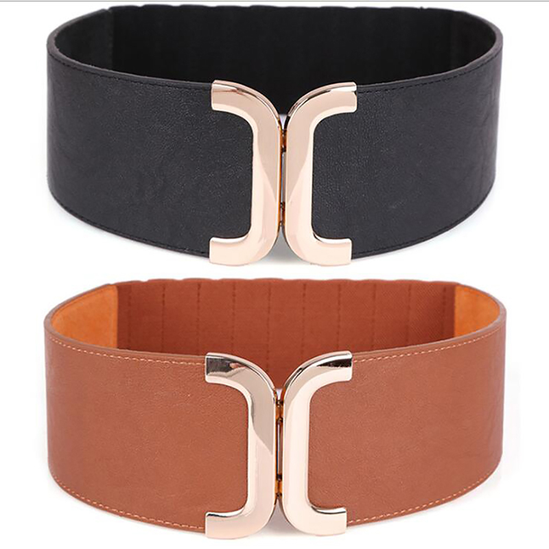 Women's Wide Waistbands Elastic Wide Belt Gold Buckle Cummerbund Female Strap Dress Decoration Gifts