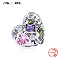 Fit Authentic Pandora Bracelet Charm 925 Sterling Silver Original Heart With Colour Clear Stone Charms Beads