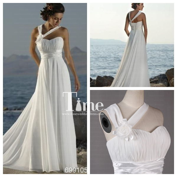 Sexy simple a line white ivory beach wedding dress chiffon for Real simple wedding dresses