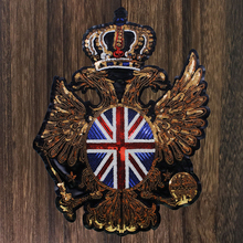 1pc British Flag Embroidered Sequin Patches United Kingdom UK National Flag Patch Crown Wing Badge Sewing Accessories TH1267