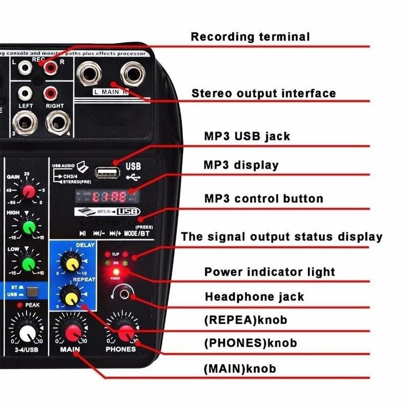 Neu Mini USB Audio Mixer Verstärker Amp Bluetooth Bord 48V Phantom Power 4 Kanäle für DJ Karaoke Professionelle Elektrische teile