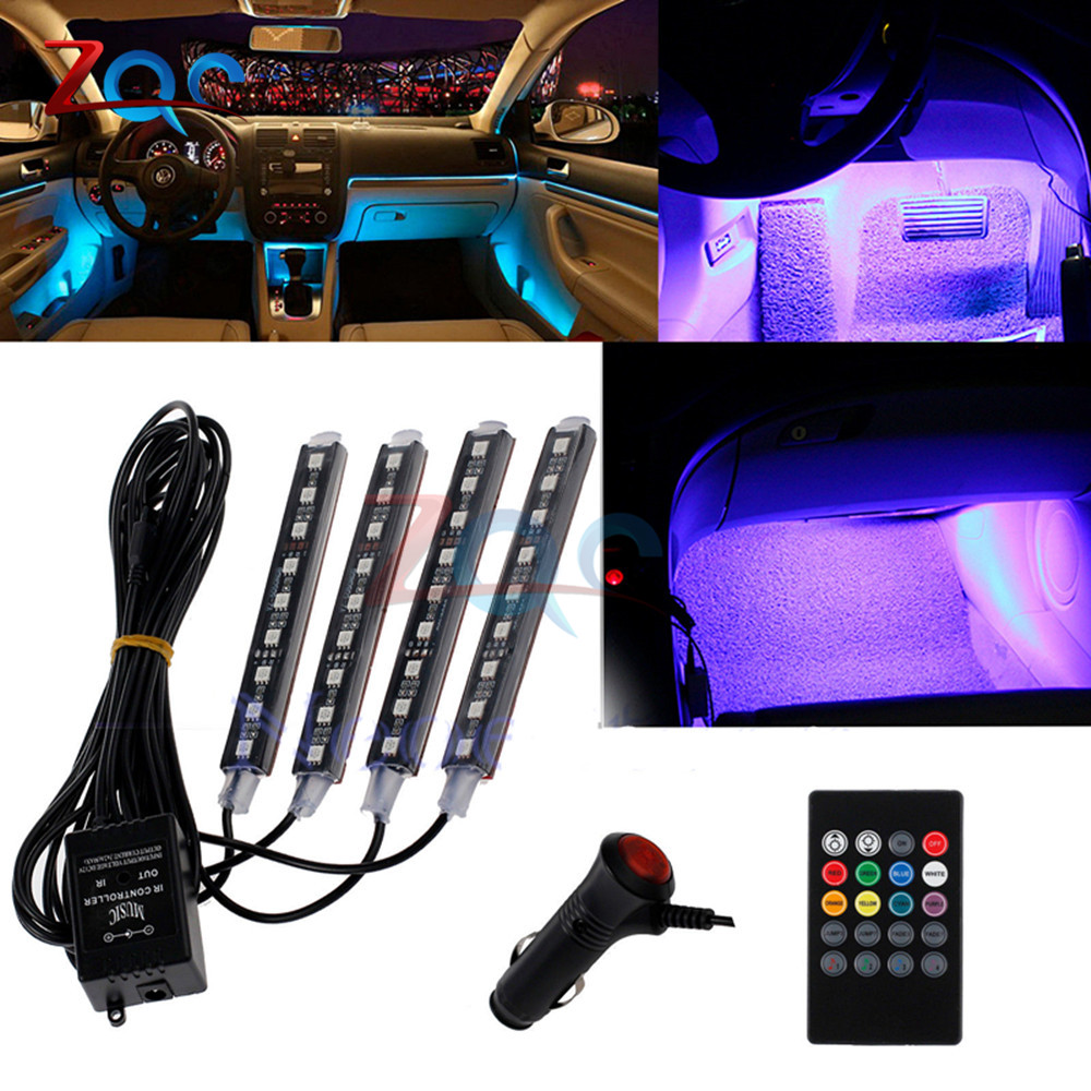 Auto Interni RGB COLOUR 9 LED STRIP LIGHT KIT WIRELESS MUSIC Control 7 color remote control atmosphere lights 1 for 4