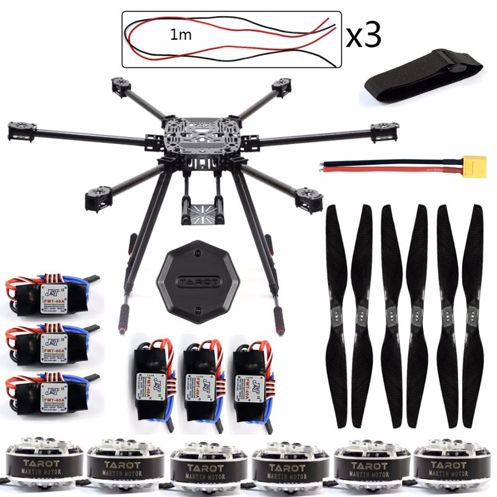 DIY Drone Set ZD850 Frame Kit with Landing Gear 620KV Motor 40A Brushless ESC Propellers XT60 Plug +Hub for RC 6-axle Hexacopter