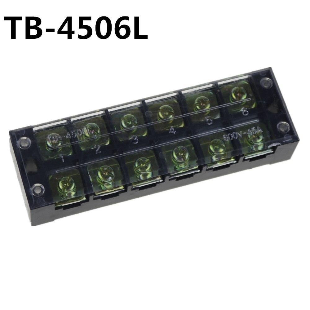 5 Pcs 600V 45A 6 Positions Dual Rows  Barrier Screw Terminal Block