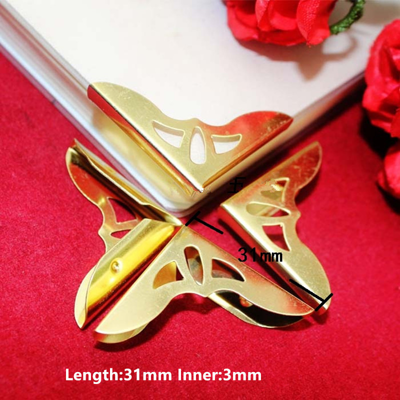 Gold Plated Book Scrapbooking Albums Menus Corner Protectors Metal Hollow Corners For Books,31*31*3mm,Fit 3mm,50Pcs диски helo he844 chrome plated r20