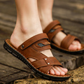 sandals male leisure breathable beach shoes Korean Metrosexual leather sandals summer antiskid dual-purpose slippers