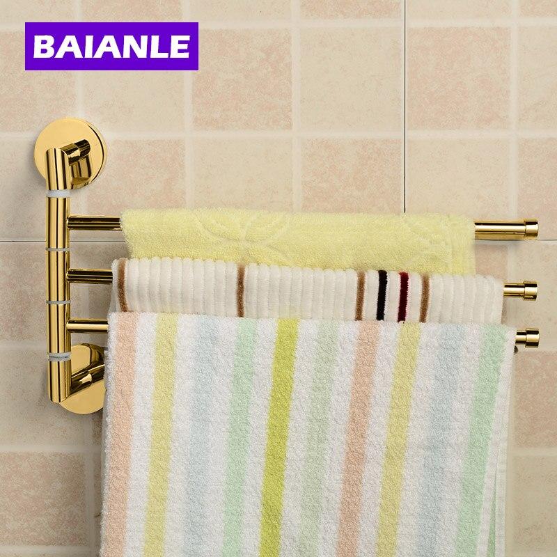 Золотой кухонный вращающийся держатель для полотенец для ванной комнаты 3 подвижных штанги для ремней полотенец аксессуары для ванной комн