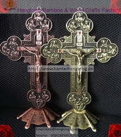 Bronce antiguo/cobre rojo plateado Iglesia Ortodoxa de Metal Piedras Cruz del Señor Jesucristo, crucifijo de pie, iglesia decoración