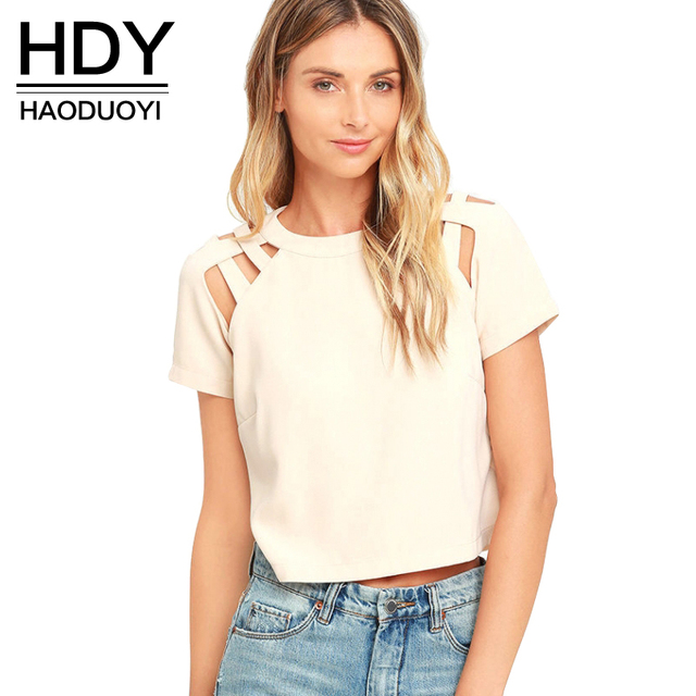 HDY Haoduoyi 2 Colors Sexy Women T-shirt Solid Crew Neck Short Sleeve Shoulder Woven Chic Tops Hollow Out Casual Zipper T-Shirt