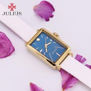 Image 3 - Nieuwe Vrouwen Horloge Japan Quartz Uur Fijne Eenvoudige Top Mode Jurk Lederen Armband Klok Meisje Verjaardagscadeau Julius 941 geen Doos