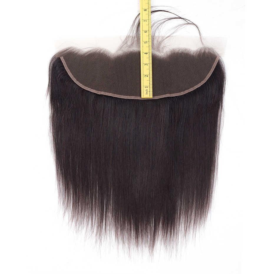 Габриель перуанские прямые человеческие волосы 13x4 Кружева Фронтальная Закрытие бесплатно/средний/три части 8-22 дюймов натуральный цвет Бесплатная доставка