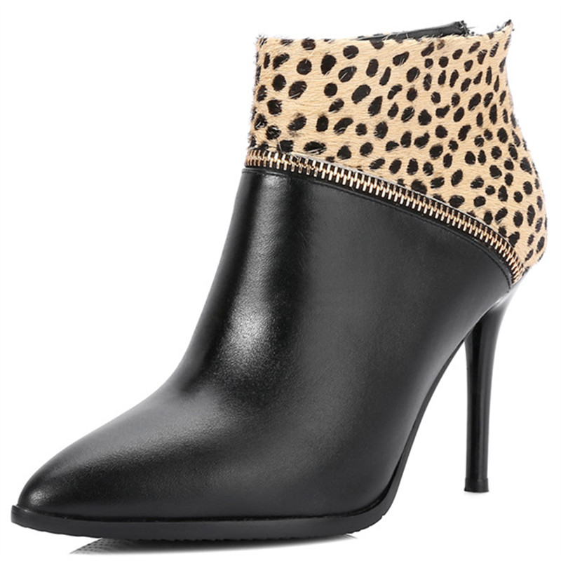 LOVEXSS Woman Autumn Platform Ankle Boots Fashion Leopard Print Plus Size 34 42 Martin Boots Black Gray High Heeled Shoes fashion tassels ornament leopard pattern flat shoes loafers shoes black leopard pair size 38