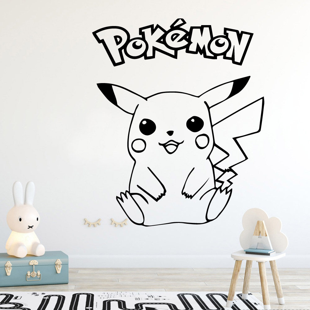 Cartoon Pokemon Monster Pikachu Wall Sticker Home Decor Decoration Nursery Kids Room For Bedroom Wall Decor