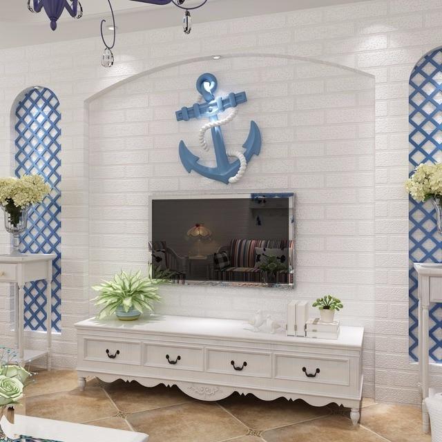 r tro brique fonds d 39 cran non tiss s 3d st r o salon tv mur 3d peintures murales v tements. Black Bedroom Furniture Sets. Home Design Ideas