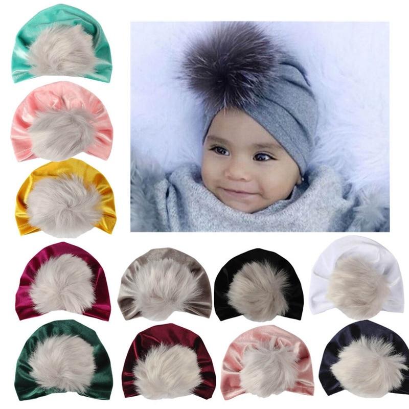 Fashion Newborn Toddler Kid Fur Pom Pom Ball Turban Velvet Hat Winter Cap