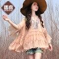 Envío Gratis 2017 Boshow Moda Primavera Y el Verano Suelta Más El Bordado de Gasa Camisa Blusas Rosa Blanco Ruffles Tops