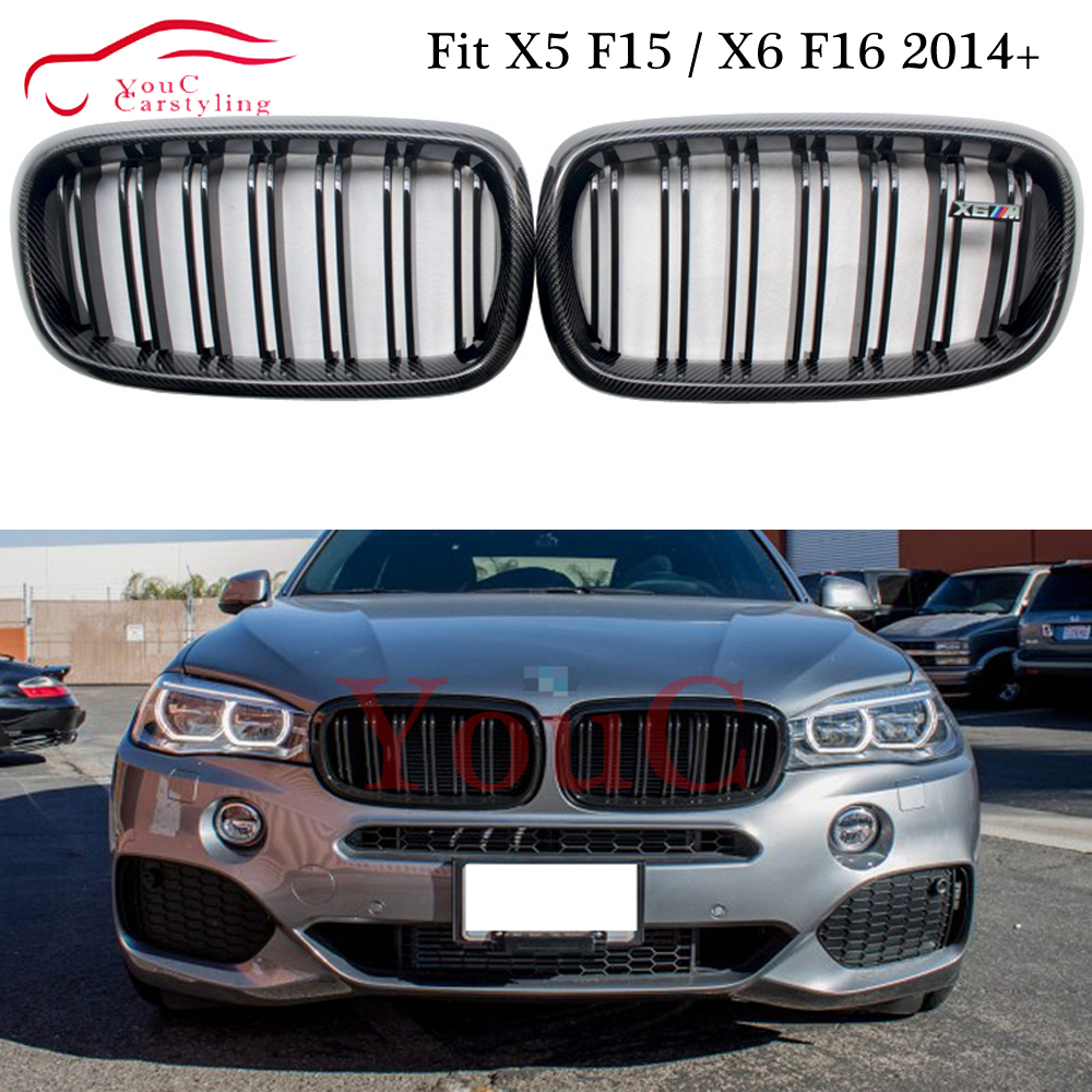 F16 Carbon Fiber Front Kidney Grille Grills for BMW X5 X6 F15 F16 5 door SUV Gloss Black Color Front Hood Racing Grill Mesh