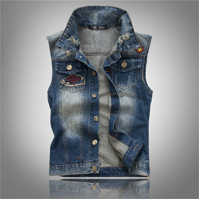 2016 Mens Denim Vest Fashion Distressed Ripped Sleeveless Jacket Mens Brand Clothes P5083