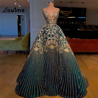 Arabic Pattern Evening Dresses Turkish Two Pieces Women Celebrity Party Gowns Abendkleider Long Prom Dress Robe De Soiree 2018