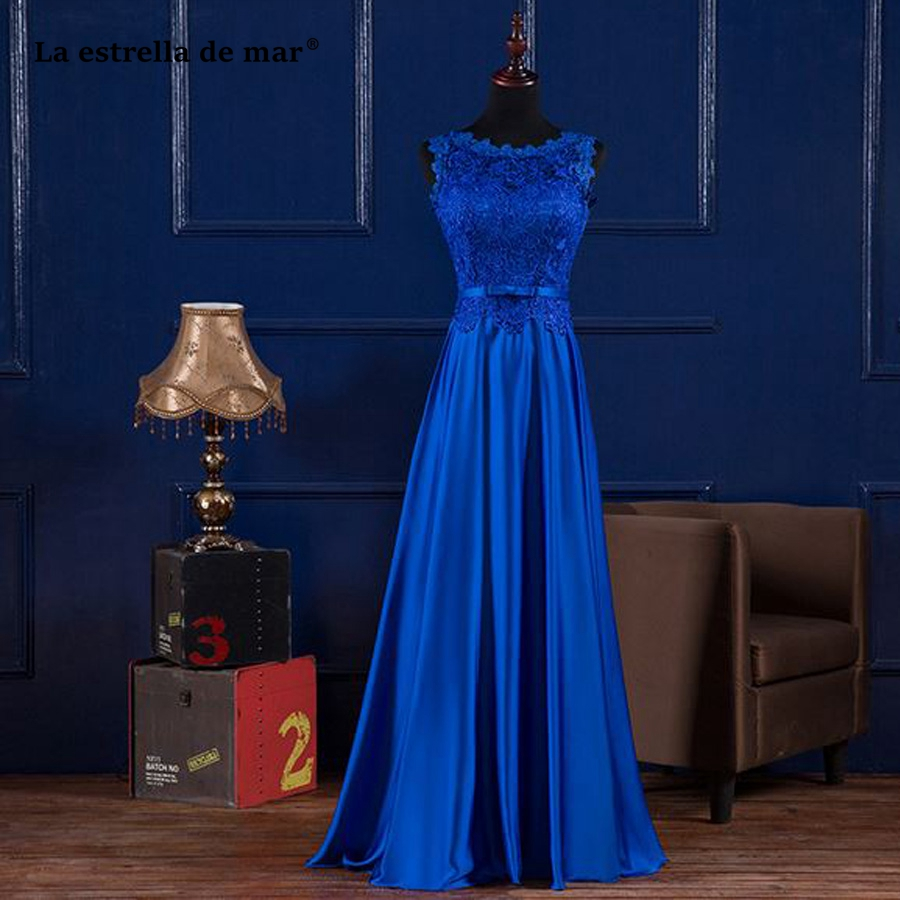 Vestiti donna eleganti per cerimonie new lace satin a Line royal blue purple mint green burgundy   bridesmaid     dresses   long plus