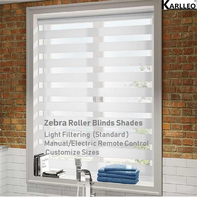 North America Zebra Roller Blinds Shades Curtain Customize Sizes Manual or Electric Controls