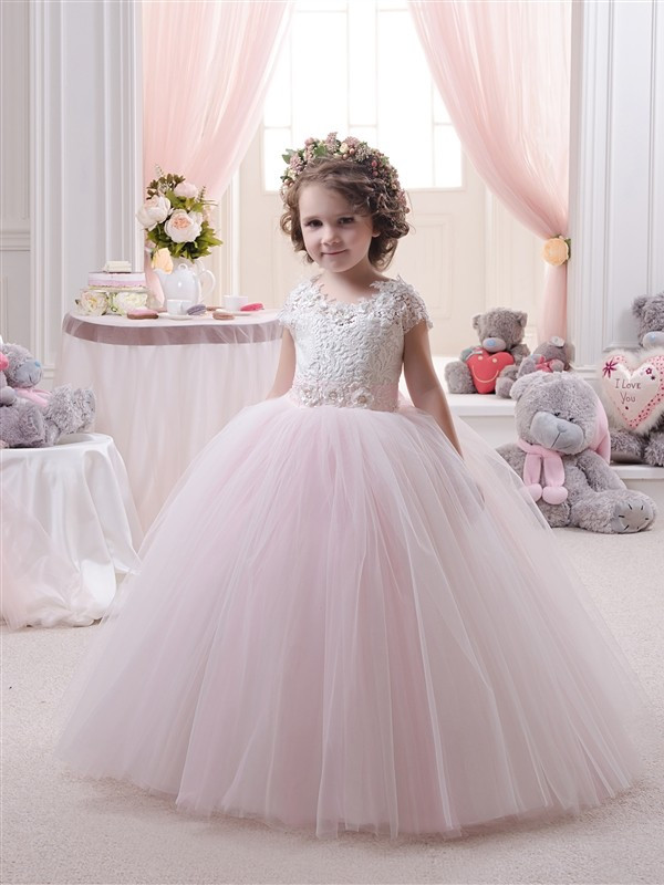 Pageant Dresses Little Girls Cap Sleeves Lace Appliques Zipper Back Ruffle Kids Toddler Pink Infant Mesh Infant Ball Gowns 0-14Y in stock layered pre teen party gowns little girls pageant dress pink color